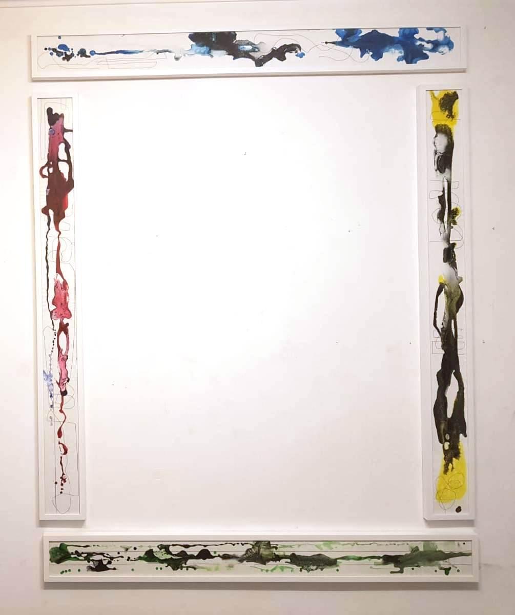 2. ciò che sta per nascere, tecnica mista su tela, cm 150x16 (ciascuno), 2019