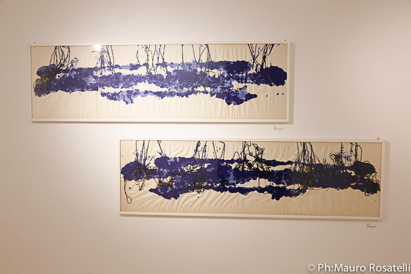36. Identità 1 and Identità 2, 2013 mixed media technique on wallpaper - 185 x 55 cm (73'' x 22'')