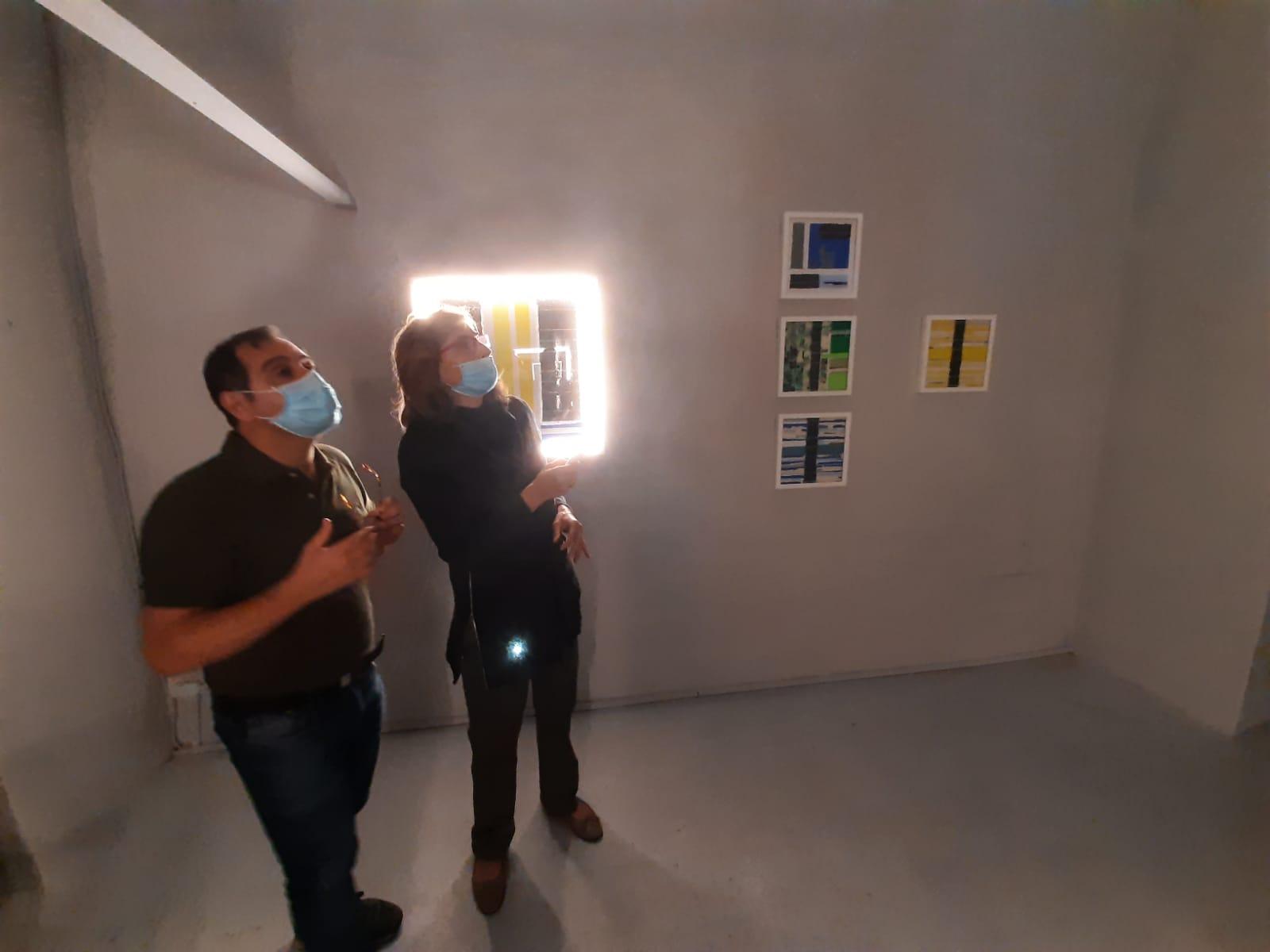4 LUCEAN, Borghini Arte Contemporanea, set up of the exhibition with the gallerist Tamara Borghini