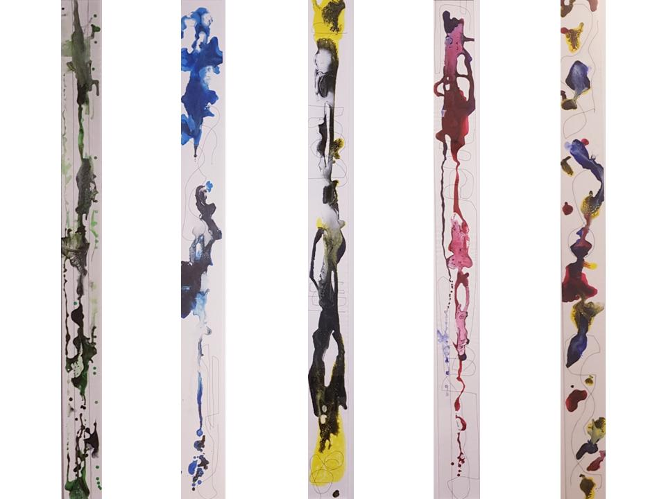 ciò che sta per nascere, tecnica mista su tela, cm 150x16 (ciascuno), 2019